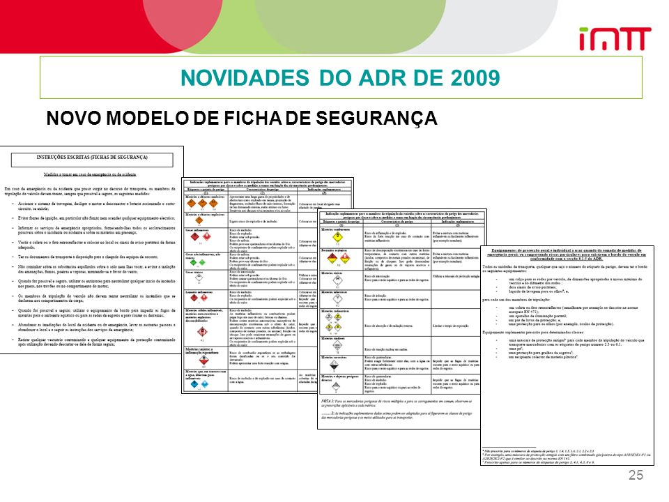 NOVIDADES DO ADR DE 2009 NOVO MODELO DE FICHA DE SEGURANÇA