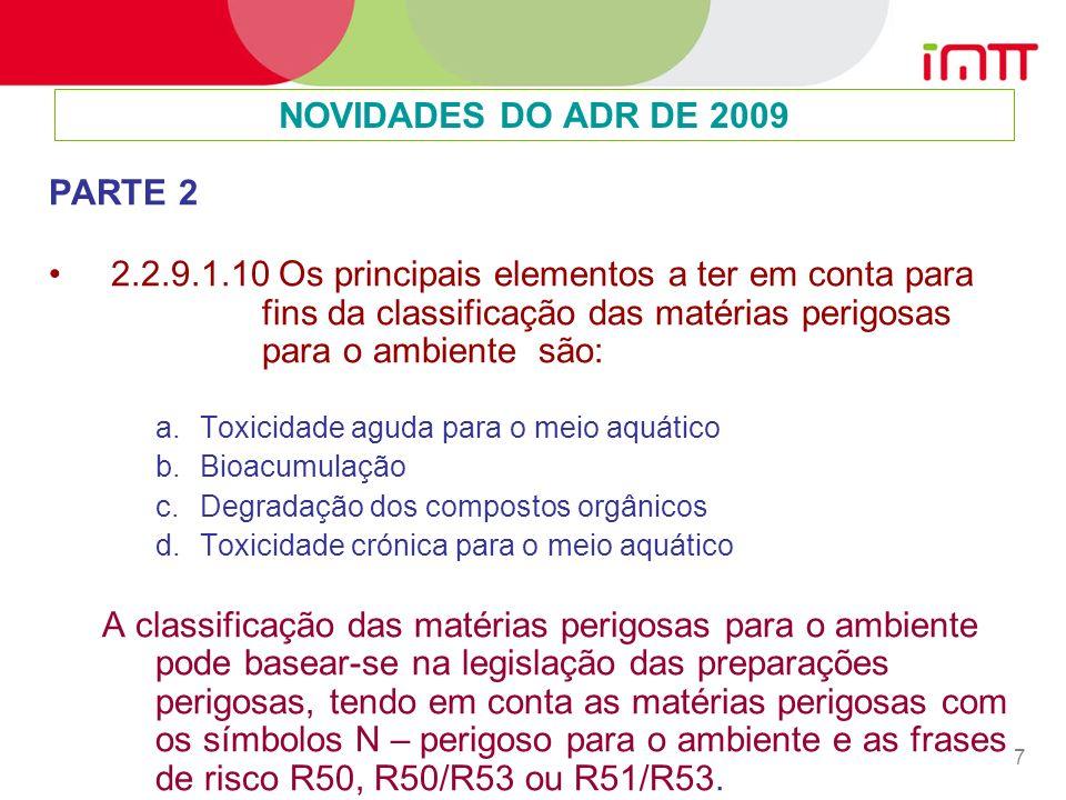 NOVIDADES DO ADR DE 2009 PARTE 2