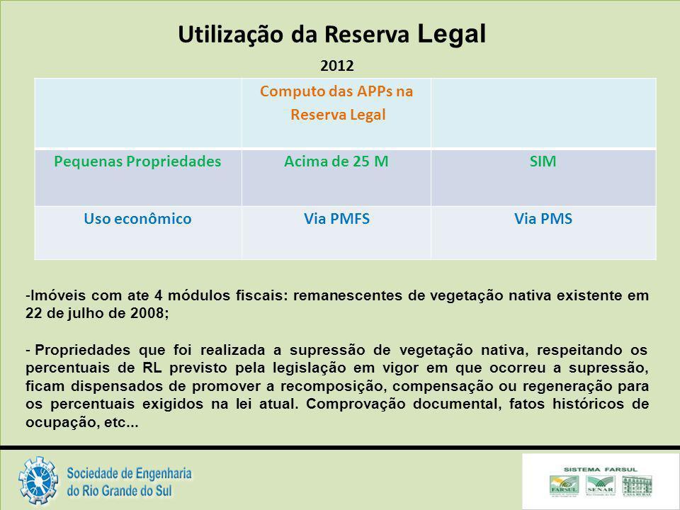 Utilização da Reserva Legal Pequenas Propriedades