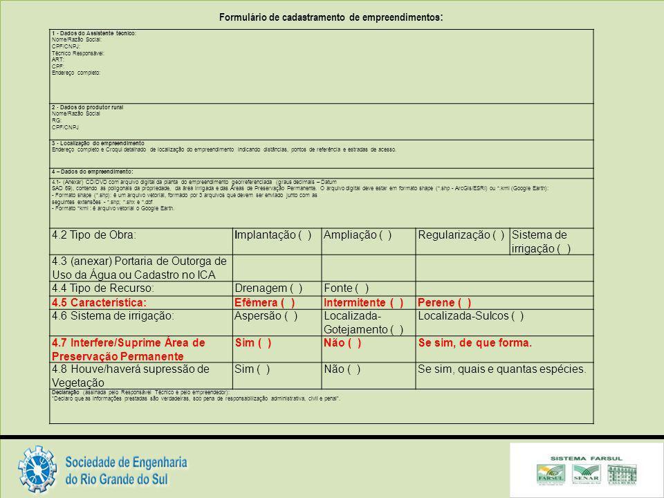 Formulário de cadastramento de empreendimentos: