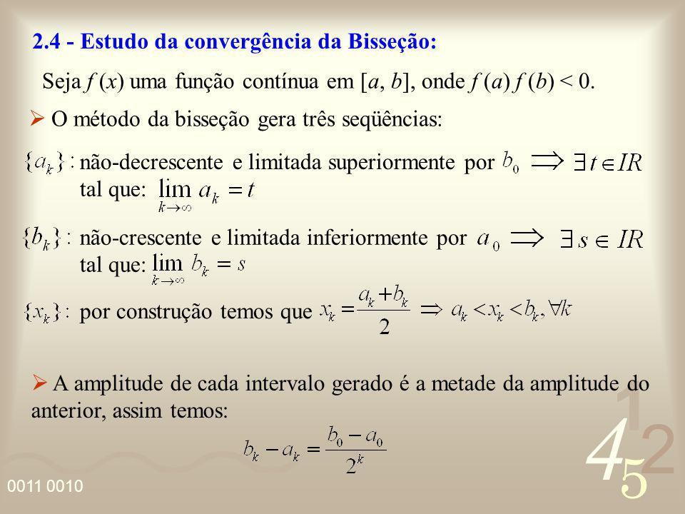 2.4 - Estudo da convergência da Bisseção: