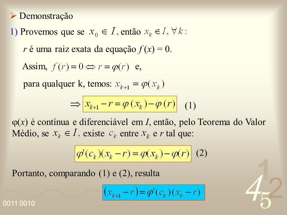 Demonstração 1) Provemos que se então. r é uma raiz exata da equação f (x) = 0. Assim, e,