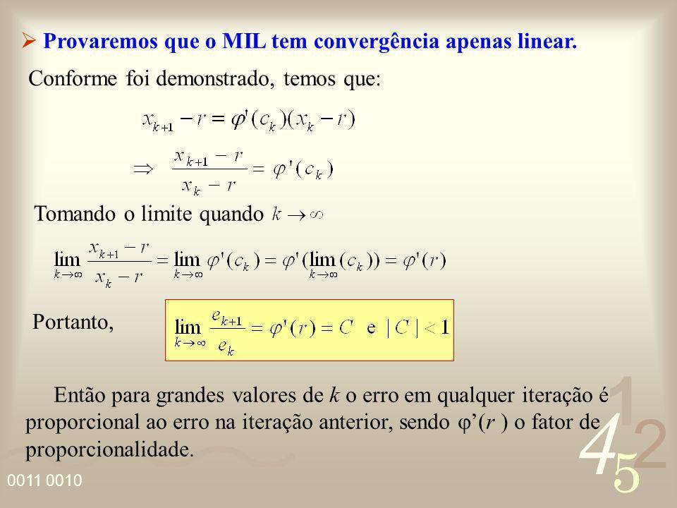 Provaremos que o MIL tem convergência apenas linear.