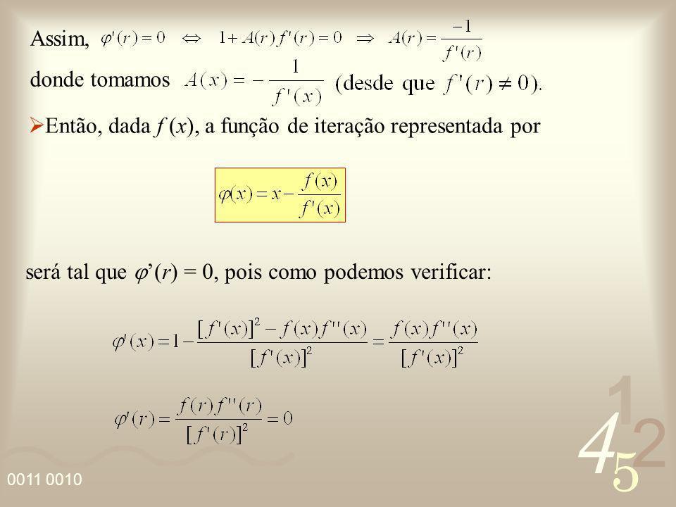 Assim, donde tomamos. Então, dada f (x), a função de iteração representada por.
