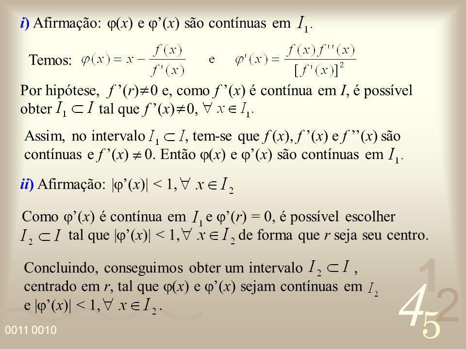 i) Afirmação: j(x) e j'(x) são contínuas em