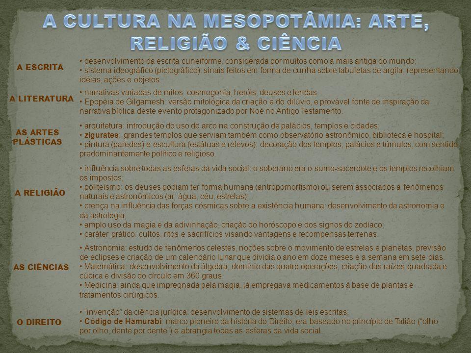 A CULTURA NA MESOPOTÂMIA: ARTE, RELIGIÃO & CIÊNCIA