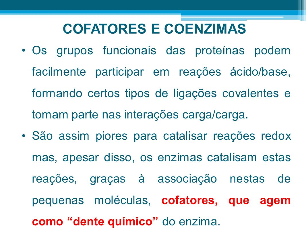 COFATORES E COENZIMAS