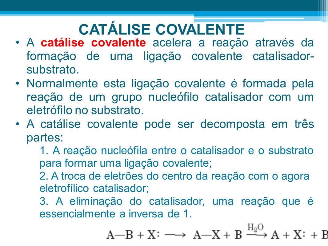 CATÁLISE COVALENTE A catálise covalente acelera a reação através da formação de uma ligação covalente catalisador-substrato.