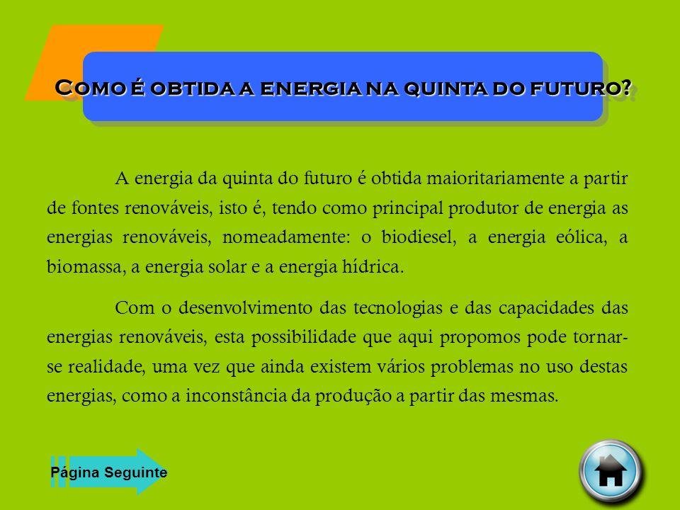 Como é obtida a energia na quinta do futuro