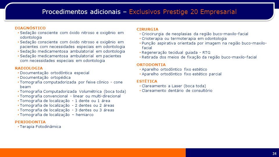 Procedimentos adicionais – Exclusivos Prestige 20 Empresarial