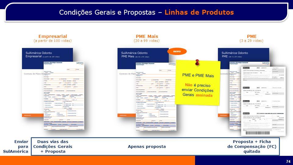 Condições Gerais e Propostas – Linhas de Produtos