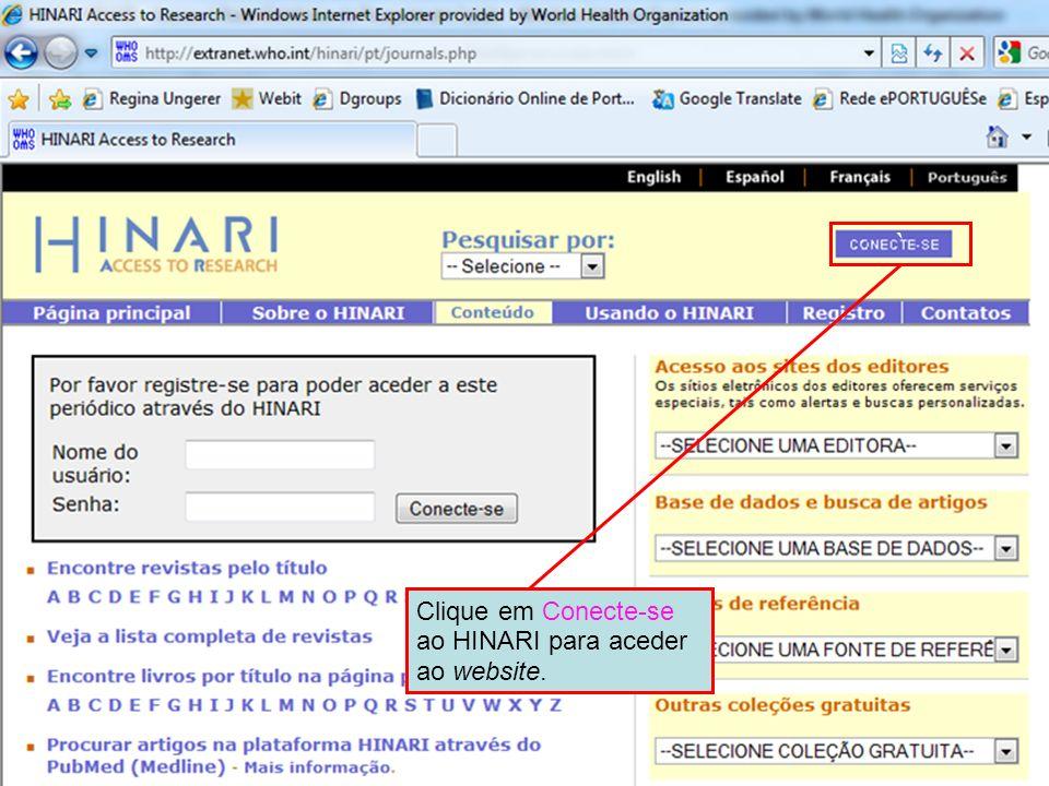 ` Clique em Conecte-se ao HINARI para aceder ao website.