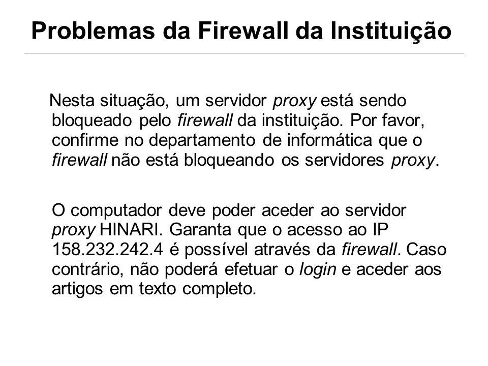 Problemas da Firewall da Instituição