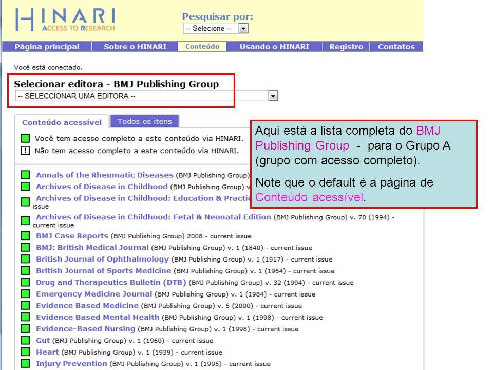 Aqui está a lista completa do BMJ Publishing Group - para o Grupo A (grupo com acesso completo).