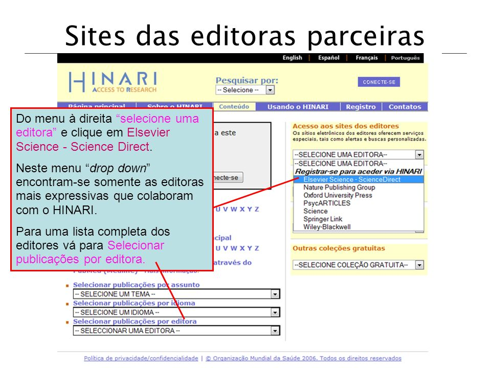 Sites das editoras parceiras