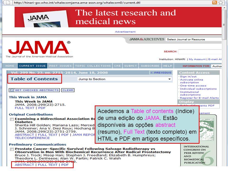 Acedemos a Table of contents (índice) de uma edição do JAMA
