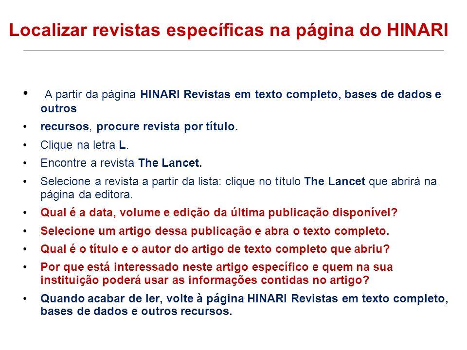 Localizar revistas específicas na página do HINARI