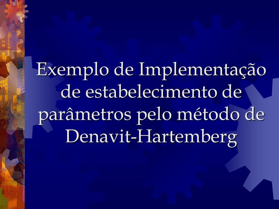 Exemplo de Implementação de estabelecimento de parâmetros pelo método de Denavit-Hartemberg