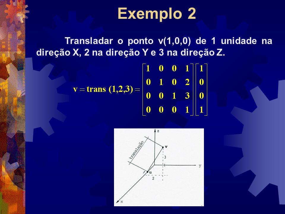 Exemplo 2 Transladar o ponto v(1,0,0) de 1 unidade na direção X, 2 na direção Y e 3 na direção Z.