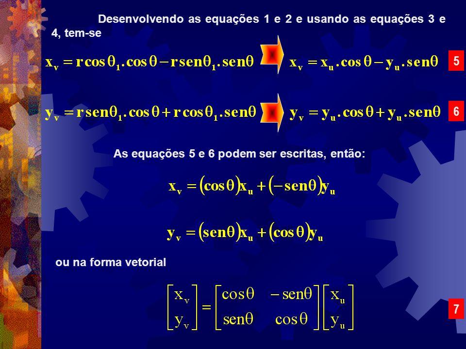 Desenvolvendo as equações 1 e 2 e usando as equações 3 e 4, tem-se