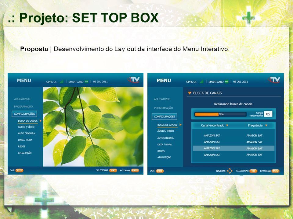 .: Projeto: SET TOP BOX Proposta | Desenvolvimento do Lay out da interface do Menu Interativo.