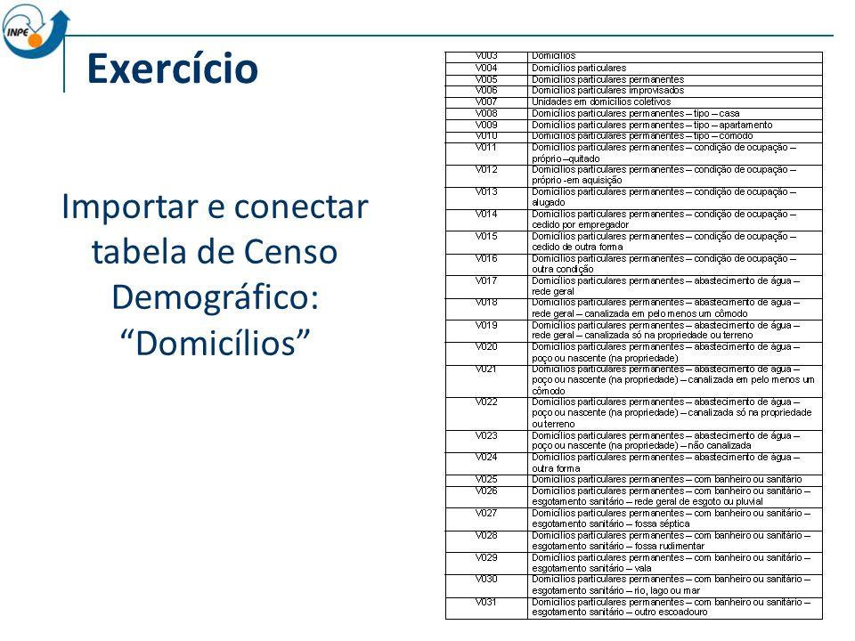 Importar e conectar tabela de Censo Demográfico: Domicílios