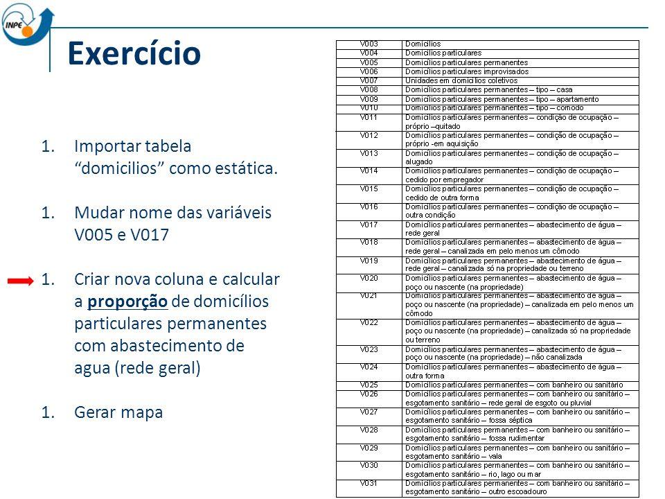 Exercício Importar tabela domicilios como estática.