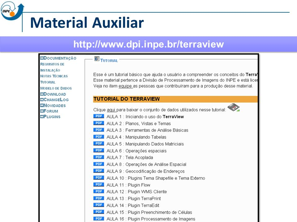 Material Auxiliar http://www.dpi.inpe.br/terraview