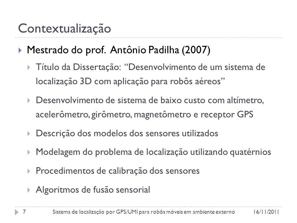 Contextualização Figura 3 – Arquitetura do sistema de localização 3D proposto na dissertação do prof. Antônio Padilha.