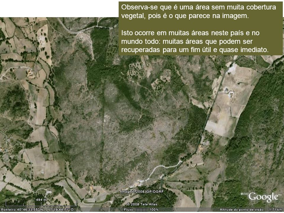 Observa-se que é uma área sem muita cobertura vegetal, pois é o que parece na imagem.