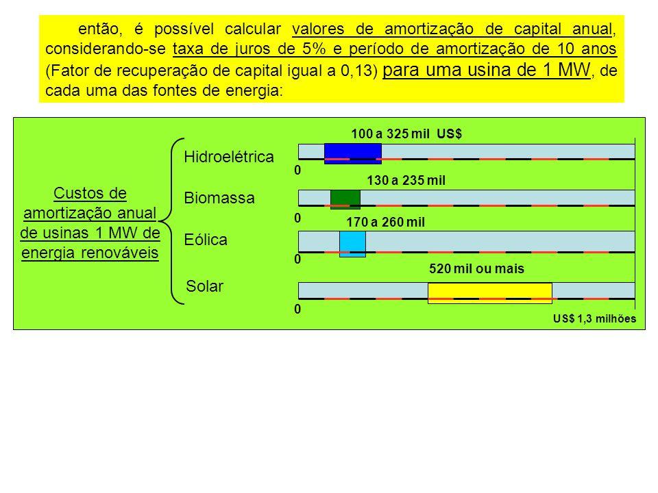 Custos de amortização anual de usinas 1 MW de energia renováveis