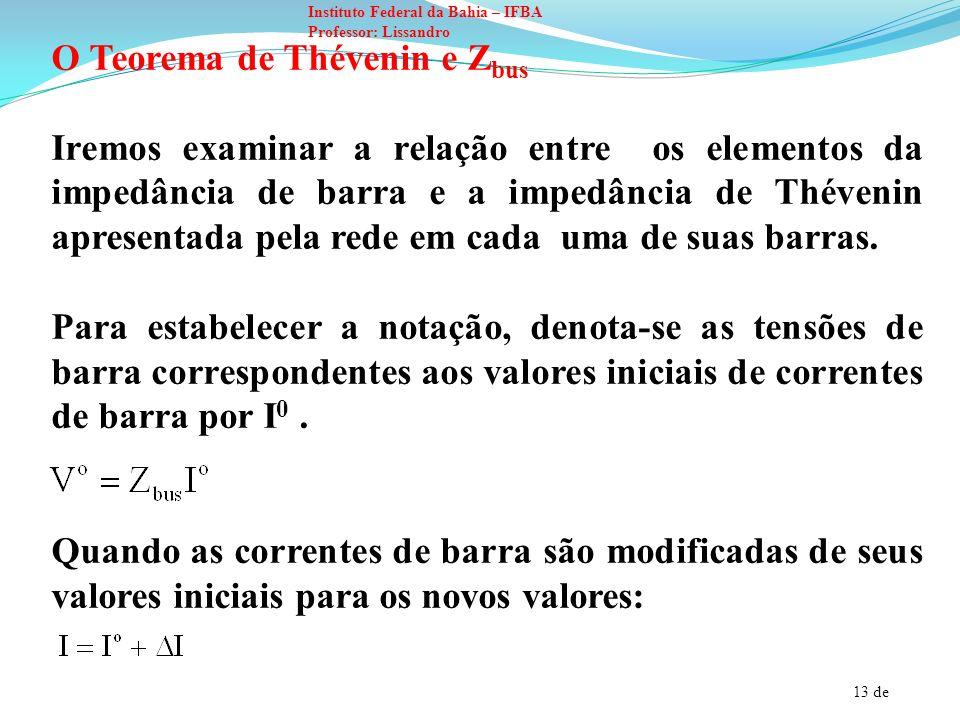 O Teorema de Thévenin e Zbus