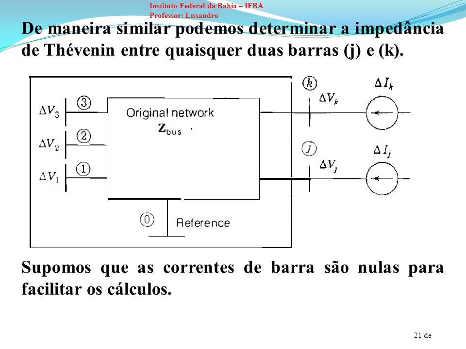 De maneira similar podemos determinar a impedância de Thévenin entre quaisquer duas barras (j) e (k).