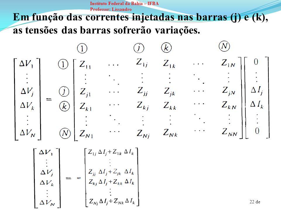 Em função das correntes injetadas nas barras (j) e (k), as tensões das barras sofrerão variações.