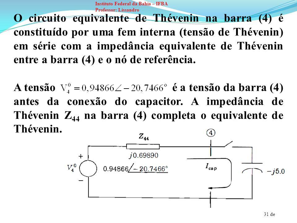 O circuito equivalente de Thévenin na barra (4) é constituído por uma fem interna (tensão de Thévenin) em série com a impedância equivalente de Thévenin entre a barra (4) e o nó de referência.