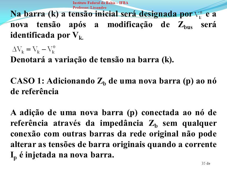Na barra (k) a tensão inicial será designada por e a nova tensão após a modificação de Zbus será identificada por Vk.