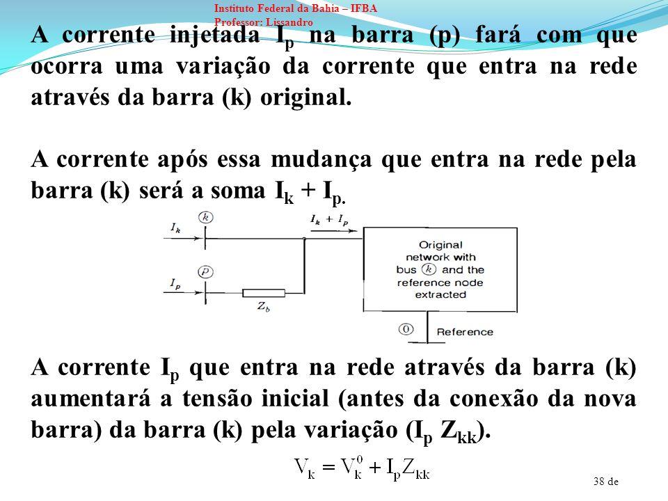 A corrente injetada Ip na barra (p) fará com que ocorra uma variação da corrente que entra na rede através da barra (k) original.