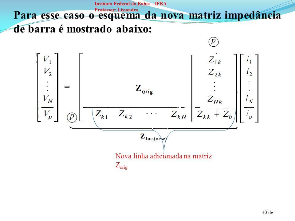 Para esse caso o esquema da nova matriz impedância de barra é mostrado abaixo:
