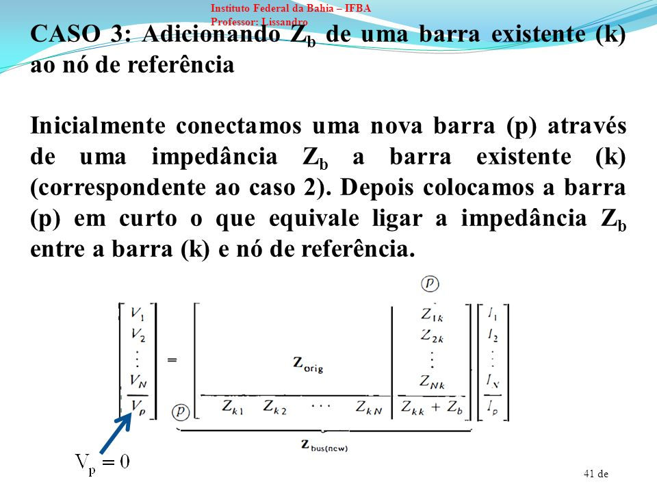 CASO 3: Adicionando Zb de uma barra existente (k) ao nó de referência