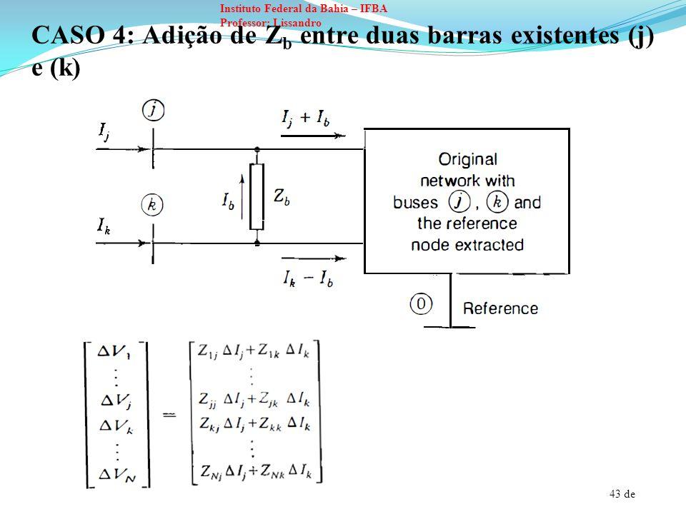 CASO 4: Adição de Zb entre duas barras existentes (j) e (k)