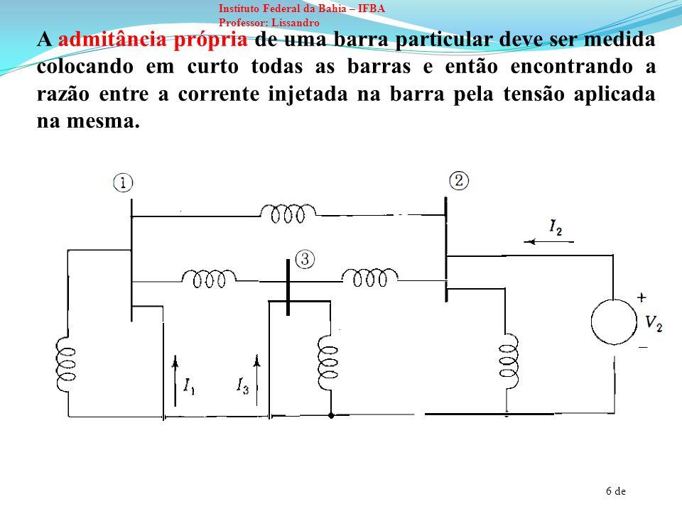 A admitância própria de uma barra particular deve ser medida colocando em curto todas as barras e então encontrando a razão entre a corrente injetada na barra pela tensão aplicada na mesma.