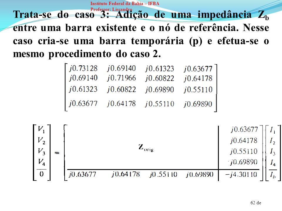 Trata-se do caso 3: Adição de uma impedância Zb entre uma barra existente e o nó de referência.