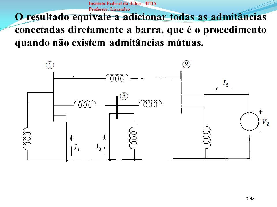 O resultado equivale a adicionar todas as admitâncias conectadas diretamente a barra, que é o procedimento quando não existem admitâncias mútuas.
