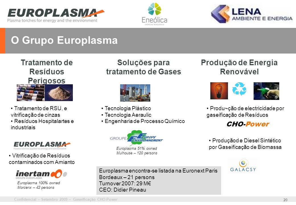 O Grupo Europlasma Tratamento de Resíduos Perigosos destruction