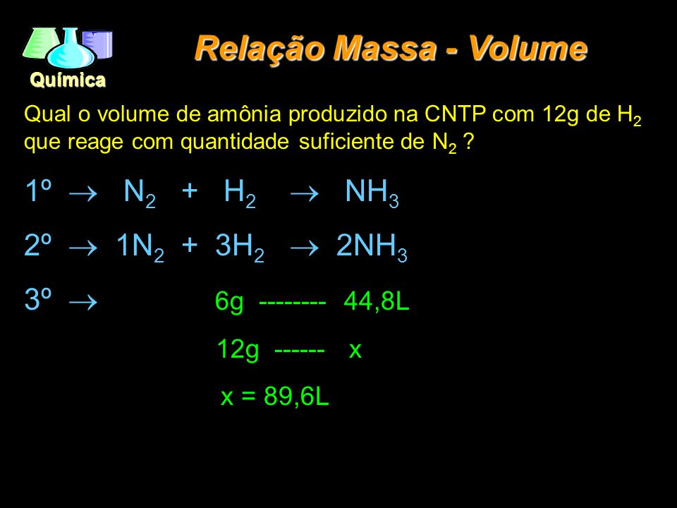 Relação Massa - Volume 1º ® N2 + H2 ® NH3 2º ® 1N2 + 3H2 ® 2NH3