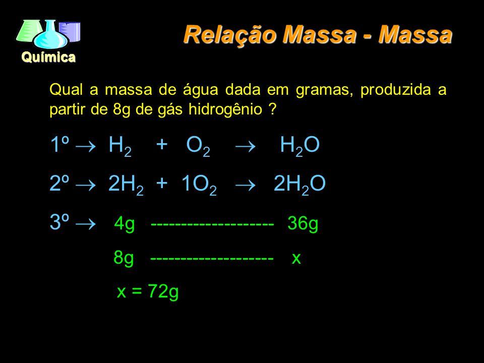 Relação Massa - Massa 1º ® H2 + O2 ® H2O 2º ® 2H2 + 1O2 ® 2H2O