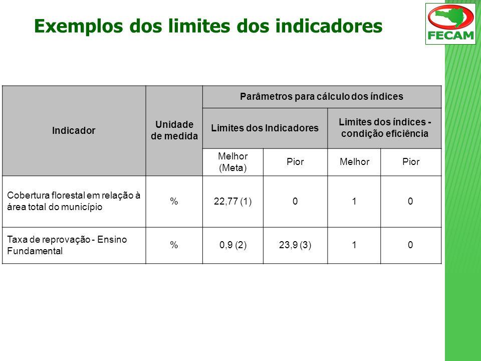 Exemplos dos limites dos indicadores