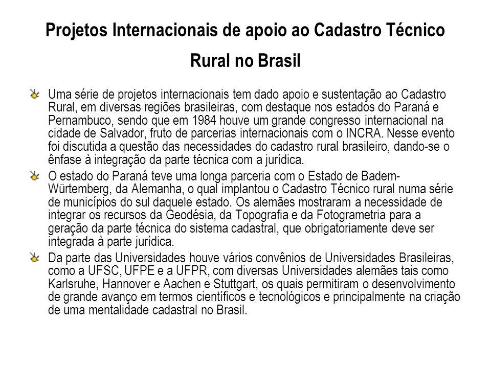 Projetos Internacionais de apoio ao Cadastro Técnico Rural no Brasil
