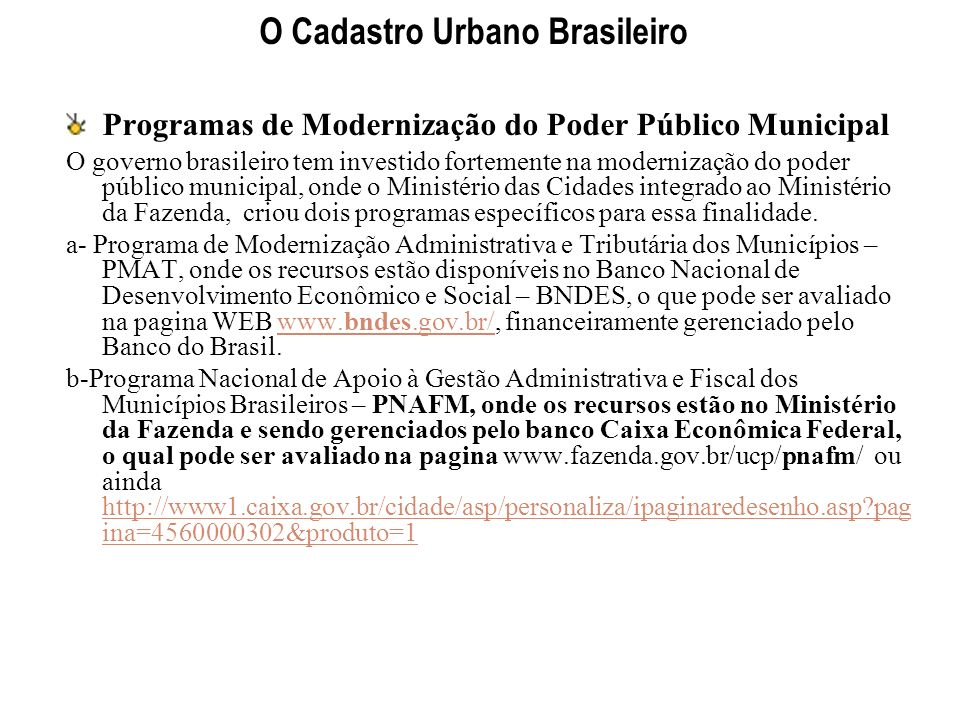 O Cadastro Urbano Brasileiro