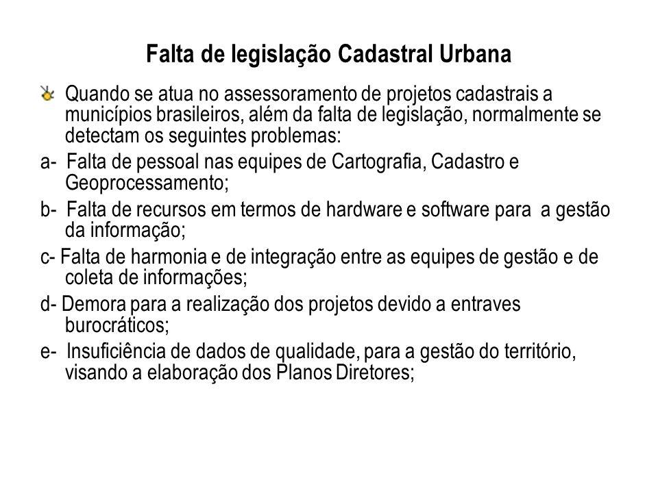 Falta de legislação Cadastral Urbana